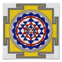 Shop Sri Yantra Poster created by Spirit_Wind. Sri Yantra, Sacred Symbols, Spiritual Practices, Indian Gods, Poster Prints, Art Prints, Indian Paintings, Mandala Design, Custom Posters