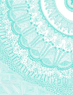 Doodle Madness AQUA Art Print by Kayla Gordon