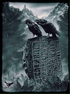 Odin's ravens, Hughin & Mughin (Thought & Memory) perched atop a rune stone (Odin was gifted the gift of prophesy via reading of the rune stones after hanging for 9 days underneath the World Tree:  symbolising the fact that Odin was gifted prophecy only after he was able to see things from another point of view, to trade self pitying, self centered closed minded thoughts to open minded thoughts necessary for manifestation).