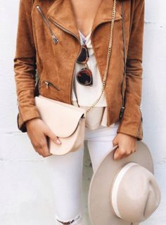 Brown leather jacket, top, jeans, bag, street style, casual chic