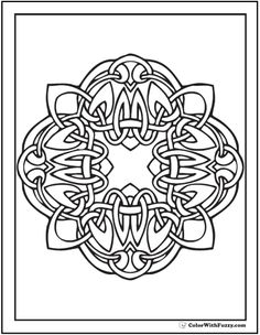 Celtic Cross Coloring Page Stained Glass Frame