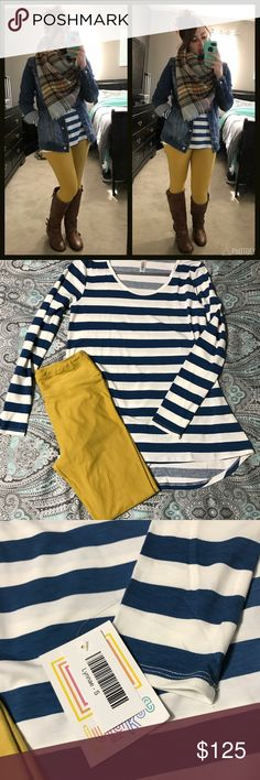 LuLaRoe Jaxon/Lynnae/Leggings Outfit Everything is all BNWT! Tried it on and never wore it. Jaxon is a size Small with no embroidery on it. Lynnae is a size small, tag got pulled off when I took it out of the closet but still have it. Mustard leggings are size OS. Love the outfit but need to sell. Just add boots and a scarf and you're ready. LuLaRoe Jackets & Coats Jean Jackets