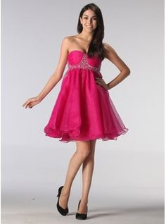 Empire Sweetheart Short/Mini Organza  Satin  Tulle Holiday Dresses With Ruffle  Beading (020013080)