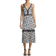 Self Portrait Sleeveless Floral Lace Midi Dress (1.770 BRL) ❤ liked on Polyvore featuring dresses, scalloped lace dress, sleeveless sheath dress, v-neck dresses, lace midi dress and floral midi dress