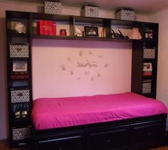Turn guest bedroom into a sewing room with a murphy bed.  Shelves for sewing and **GUEST**  Storage!