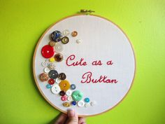 button embroidery | Cute as a Button Embroidery Hoop Vintage Buttons by ManitasDeGato