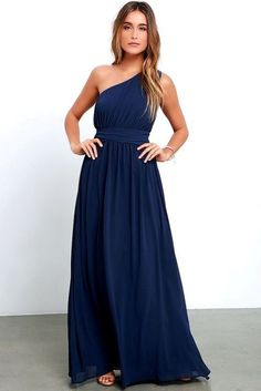 20 One Shoulder Bridesmaid Dresses For Fall Weddings: #11. Midnight blue classic maxi dress