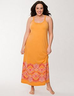 With a feminine lace back and paisley hem, our toe-skimming maxi is a Spring-fresh way to snooze or lounge. Sleep in style and complete comfort in this cool cotton gown, beautifully detailed with double straps and a flattering scoop neckline.  lanebryant.com