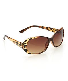Another great find on #zulily! Brown & Gold Animal Oval Sunglasses #zulilyfinds