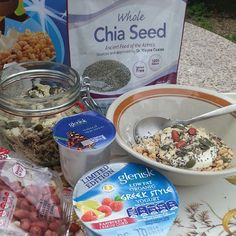 @_maymelanie Another al fresco breakfast built around @gleniskorganic mixing low fat natural yogurt & limited edition greek style yogurt with rice krispies, nuts and seeds. #showusyouryogurt