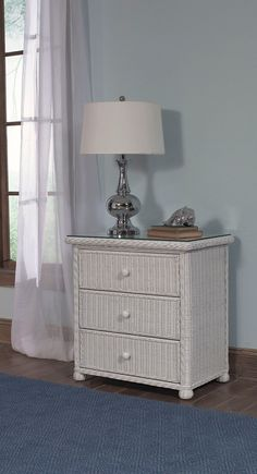 The Elana three drawer wicker dresser is made in white and antique honey finishes. With an easy glide roller system, it allows the dresser drawers to open in and out with ease. #wicker #white #wickerfurniture #bedroomfurniture #dresser Bedroom Furniture, Bedroom Decor, Discount Furniture, Entryway Tables, Hate, Home Decor, Bed Furniture, Decoration Home, Room Decor