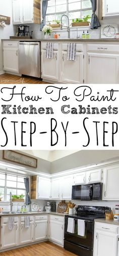 Painting kitchen cabinets is easy and affordable. I'm sharing how to paint your kitchen cabinets without sanding or priming using chalk paint. I turned my kitchen into a farmhouse dream on a budget. - simplytodaylife.com #kitchencabinets #chalkpaint #diyproject #kitchenmakeover