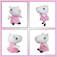 Ravelry: Suzy Sheep pattern by Kristine Kuluka Crochet Buttons, Crochet Hooks, Crochet Planter Cover, Crochet Alphabet, Pig Character, Christmas Hat, Crochet Patterns Amigurumi, Double Knitting, Peppa Pig