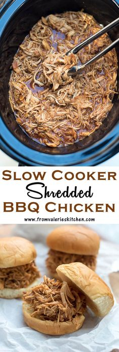 This Slow Cooker Shredded Chicken is an incredibly easy way to create tender, shredded BBQ chicken that can be used in a variety different meals. Slow Cooker Huhn, Crock Pot Slow Cooker, Crock Pot Cooking, Slow Cooker Recipes, Crockpot Recipes, Cooking Recipes, Crock Pots, Smoker Recipes, Rib Recipes