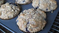 Sourdough Banana-Blueberry-Oatmeal-Bran Muffins
