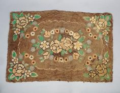 35in x 22.5in. Charming Antique c1900 American Folk Art Floral Rose Garland Hooked Rug AAFA #Floral