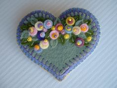 Felt Applique Flower Heart Pin