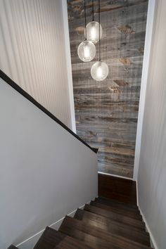 Cool sonneman lighting in Staircase Modern with Reclaimed Wood Accent Wall next to Reclaimed Wood Walls alongside Stikwood and Wood Accent Wall