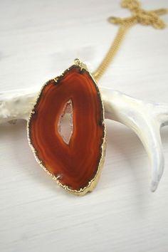Brown - vergoldete Achatscheibe | Crystal and Sage