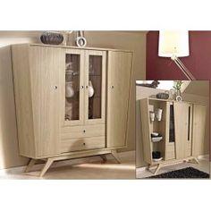 #Aparador #vintage con vitrina estilo moderno para comedor. Un mueble auxiliar  indispensable para guardar la vajilla, mantelería... y tener todo a mano en caso de visitas.