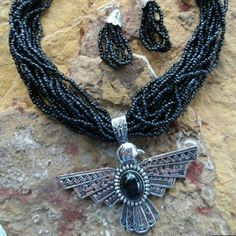 Shop Women's Silver Black size OS Necklaces at a discounted price at Poshmark. Seed Bead Necklace, Necklace Set, Beaded Necklace, Native American Thunderbird, Jewelery, Jewelry Necklaces, Gypsy Cowgirl, Native American Fashion, Absolutely Gorgeous