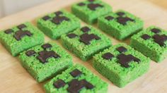 Minecraft Creeper Rice Krispy Treats. B would go CRAZY over these (how to make a wee bit healthy?)