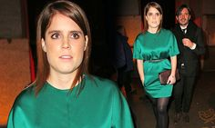 Princess Eugenie cinches in green satin shift with tiny metallic belt