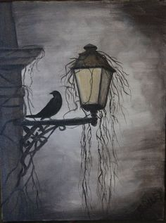 Original Acrylic Painting of Raven on Light by crileydesigns drawings acrylic paintings Items similar to Original Acrylic Painting of Raven on Light, Halloween Decoration, Gothic Look, crow on lantern on Etsy Halloween Drawings, Halloween Painting, Halloween Art, Gothic Halloween, Acrylic Painting For Beginners, Acrylic Painting Canvas, Canvas Art, Autumn Painting, Autumn Art