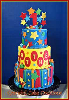 Whimsical 1st Birthday Cake with Stars and Stripes | Flickr - Photo Sharing!