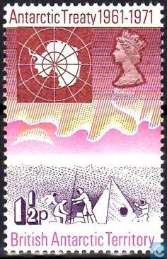 1971 - 10 years Antarctic Treaty 1½ - stamp - British Antarctic Territory