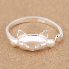 Women's 925 Sterling Silver Rings,Simple Cute Cat Design Opening Finger Ring