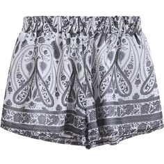 SheIn(sheinside) Grey Elastic Waist Tribal Print Shorts ($15) ❤ liked on Polyvore featuring shorts, bottoms, short, pants, black, black shorts, stretch waist shorts, short shorts, black chiffon shorts and chiffon shorts