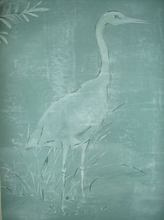"""Floridian Style-White Heron! Hand painted fabric art, with a pocket sewn at the top, to hang, using a curtain rod or strong double-sided tape. 20"""" x 34"""" etsy.com/shop/hetrickduffydesigns"""
