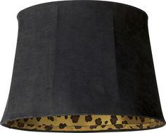Black Faux Suede Leopard Print Shade 13x16x11 (Spider) -