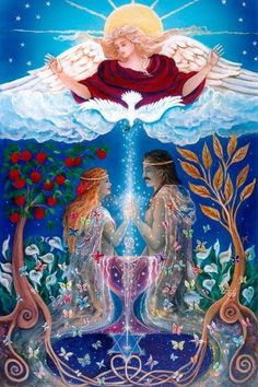 The God & Goddess Essence of the One Soul...known as Twin Flames/Twin Rays...Merged deeply in Sacred Devotional Marriage they have been One for Eternity. The vibration of their God/Goddess Essence is One & the same...an exact match. Though one's Essence feels Masculine & the other Feminine, their Essence is One & the Same, a perfect vibrational match. With Love, Carolyn & Andy ♥♥ Beautiful Artwork ~ Unknown