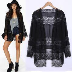 Brasão Mulheres Negras Lace Chiffon Costura Kimono Top Blusa Long Cardigan