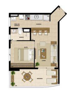 Apartamento de 55 m² - 1 Suíte
