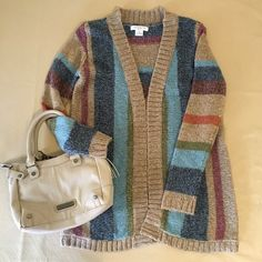 """NEW Liz Claiborne Multi-color Striped Cardigan NEW Multicolor Acrylic Blend Cardigan by Liz Claiborne.  """"I love new clothes. If everyone could just wear new clothes everyday, I reckon depression wouldn't exist anymore."""" - Sophie Kinsella, Confessions of a Shopaholic Liz Claiborne Sweaters Cardigans"""