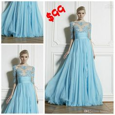 Wholesale Prom Dresses - Buy 2014 Zuhair Murad Sexy Sheer Bateau Wedding Evening Dresses New Half Sleeve Appliques Lace A-Line Formal Dress Chiffon Long Prom Dress Gowns, $68.42 | DHgate