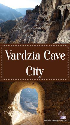Vardzia Cave City - Latitude with Attitude Cave City, Go Skiing, Underground Cities, 12th Century, Ancient Civilizations, Attitude, Georgia, Scenery, Around The Worlds