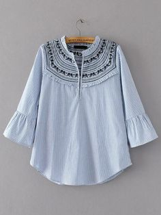 Vertical Striped Embroidery Bell Sleeve Blouse -SheIn(abaday)