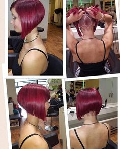What's sexier than an angled bob cut? An angled bob with an undercut! The same cut with a hair tattoo and an eye-catching dye job! Love this cut and colour. Shaved Undercut, Undercut Bob, Shaved Nape, Undercut Hairstyles, Short Bob Hairstyles, Inverted Bob Haircuts, Layered Haircuts, Modern Haircuts, Trending Hairstyles