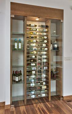 Creative DIY Wine Racks for Your Collection- Creative DIY Wine Racks for Your Collection love the glass built in contemporary lights - Glass Wine Cellar, Home Wine Cellars, Wine Cellar Modern, Wine Rack Design, Wine Cellar Design, Wine Rack Wall, Wine Wall, Wine Racks, Bar Sala