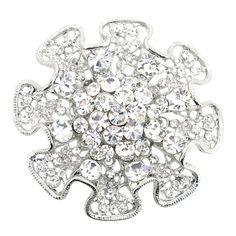 Silver Ruffled Flower Wedding Brooch Pin