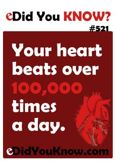Your heart beats over times a day. Wow Facts, Wtf Fun Facts, True Facts, Funny Facts, Did You Know Facts, Things To Know, The More You Know, Good To Know, Trivia Questions