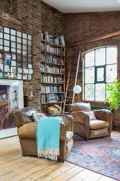 Books in a cozy living room