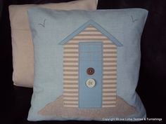 Linen Beach Hut Cushion - Design 2 £16.50