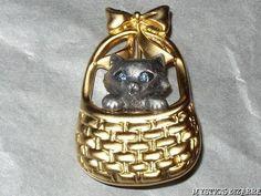 DANECRAFT GOLD & PEWTER TONE CAT IN BASKET BROOCH