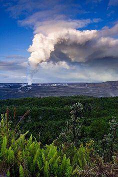 Gas plume from the Halema'uma'u Crater Vent on Kilauea, Hawaii Volcanoes National Park