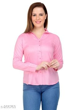 Shirts Trendy Rayon Women's Shirt Fabric: Rayon Sleeves: Sleeves Are Included  Size: L - 40 in XXL - 44 in Length: Up To 26 in Type: Stitched Description: It Has 1 Piece Of Women's Shirt Pattern: Solid Country of Origin: India Sizes Available: M, L, XL, XXL   Catalog Rating: ★3.8 (145)  Catalog Name: Ladies Shiny Solid Rayon Shirts CatalogID_26631 C79-SC1022 Code: 433-256763-2001